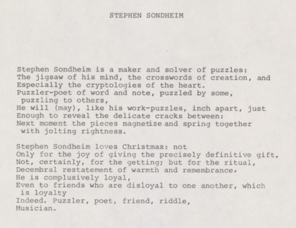 Acrostic Poem for Stephen Sondheim by Leonard Bernstein circa 1958