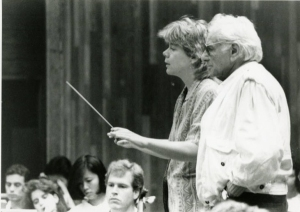 Leonard Bernstein works with Marin Alsop, a conducting fellow at Tanglewood in 1988 and 1989